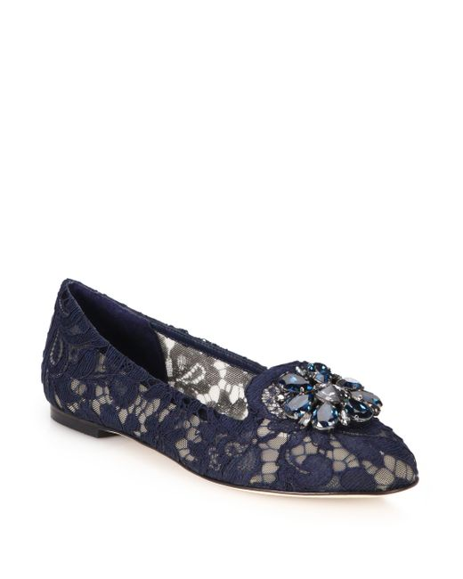 Dolce & Gabbana | Blue Embellished Lace Loafers | Lyst