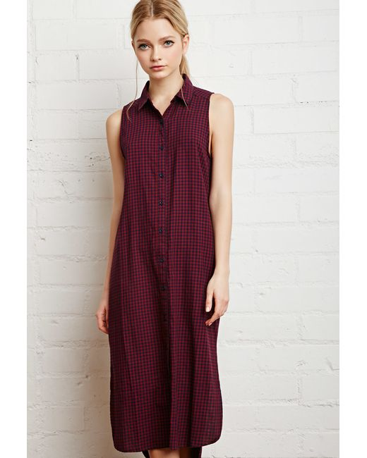 Forever 21 Gingham Midi Shirt Dress In Red Burgundy Navy