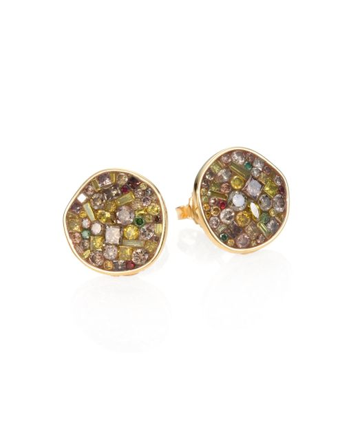 Plevé | Metallic Cinnamon Diamond & 18k Yellow Gold Pebble Button Earrings | Lyst