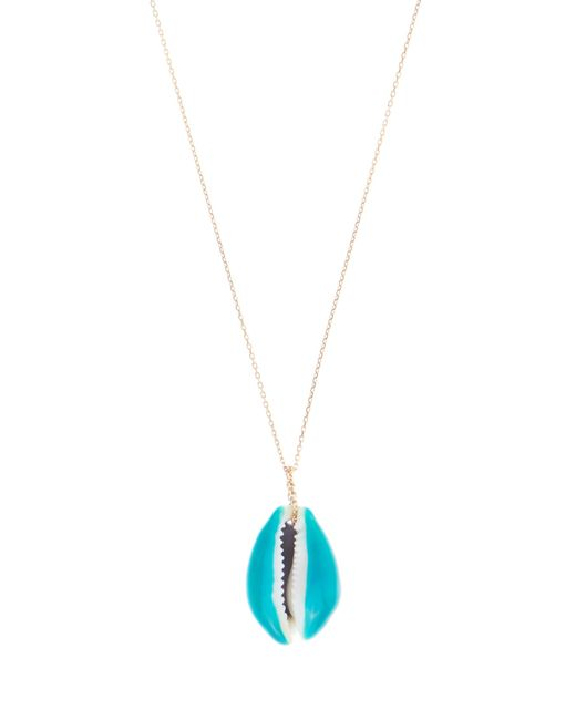 Aurelie Bidermann | Blue Merco Lacquered-shell Yellow-gold Necklace | Lyst