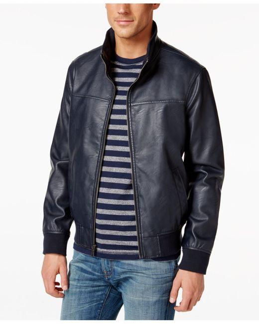 tommy hilfiger faux leather stand collar bomber jacket in. Black Bedroom Furniture Sets. Home Design Ideas