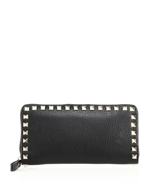 Valentino | Black Rocktud Zip-around Continental Wallet | Lyst