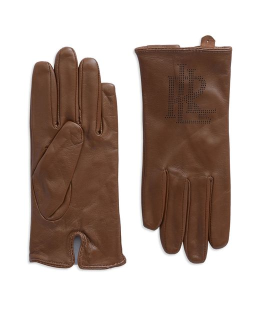 Lauren by Ralph Lauren | Brown Logo Peforated Leather Gloves | Lyst