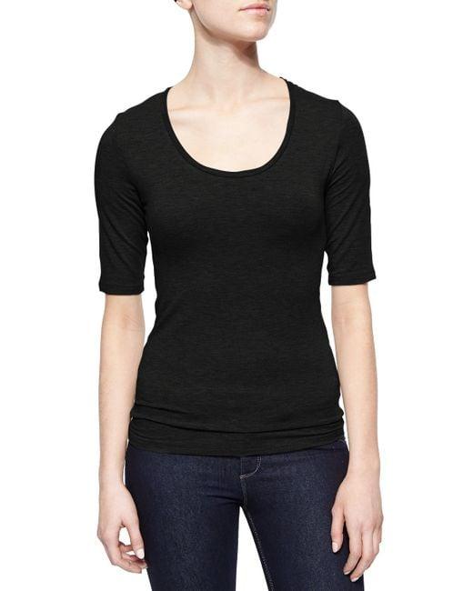 Neiman Marcus | Black Soft Touch Half-sleeve Scoop-neck Top | Lyst