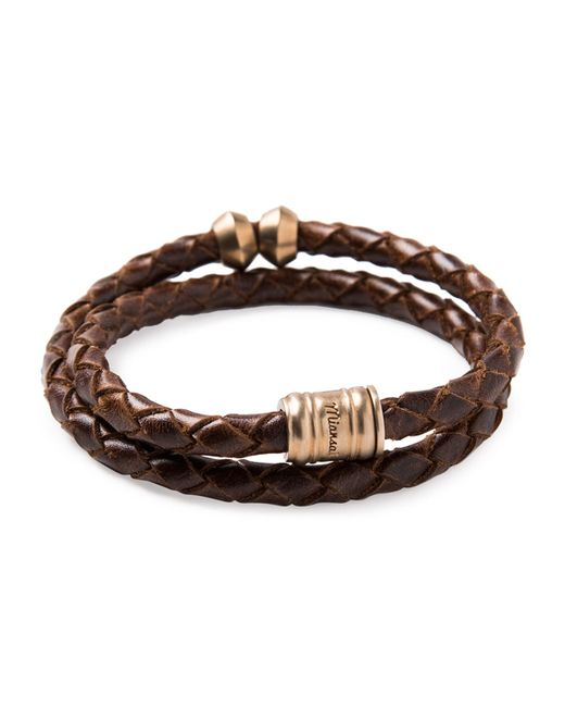Miansai   Brown Woven Leather Bracelet With Brass Casing for Men   Lyst