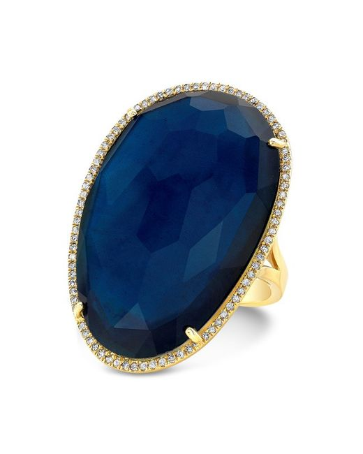 Anne Sisteron | Blue 14kt Yellow Gold Dark Azul Oval Diamond Cocktail Ring | Lyst