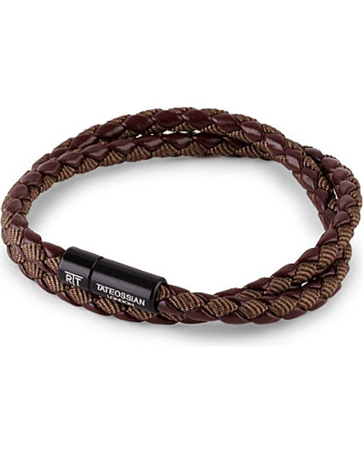 Tateossian | Brown Chelsea Leather Double-wrap Bracelet | Lyst