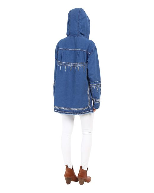 Blank denim embroidered hooded shirt in orange blue lyst for Blank polo shirts for embroidery