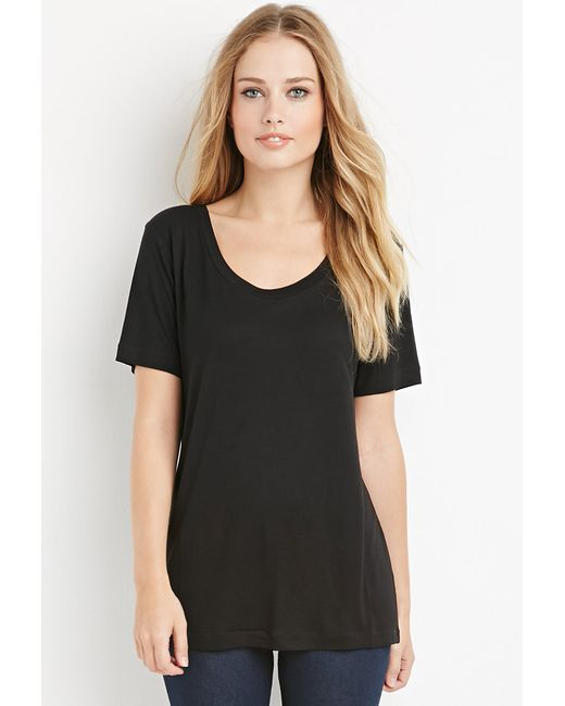 Forever 21 | Black Scoop Neck Tee | Lyst