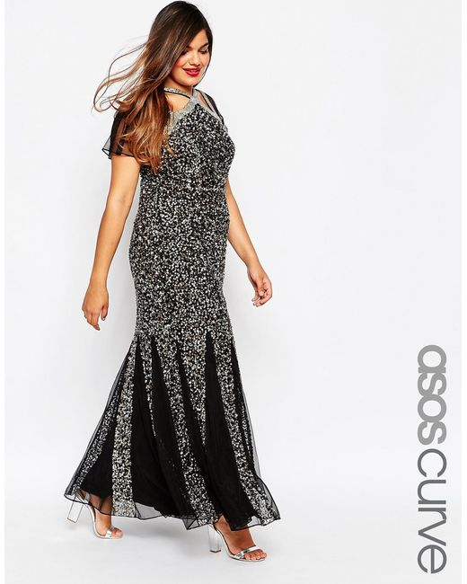 Asos curve red carpet fishtail maxi dress in sequin mesh in silver blacknavysilver save 50 - Silver red carpet dresses ...