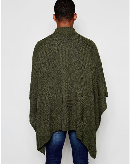 Asos Cable Knit Poncho in Khaki for Men Lyst