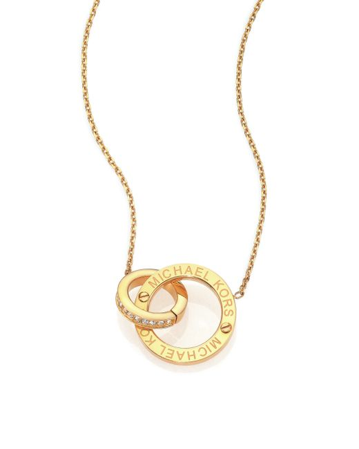 Michael Kors | Metallic Heritage Logo Pave Double-ring Pendant Necklace/goldtone | Lyst