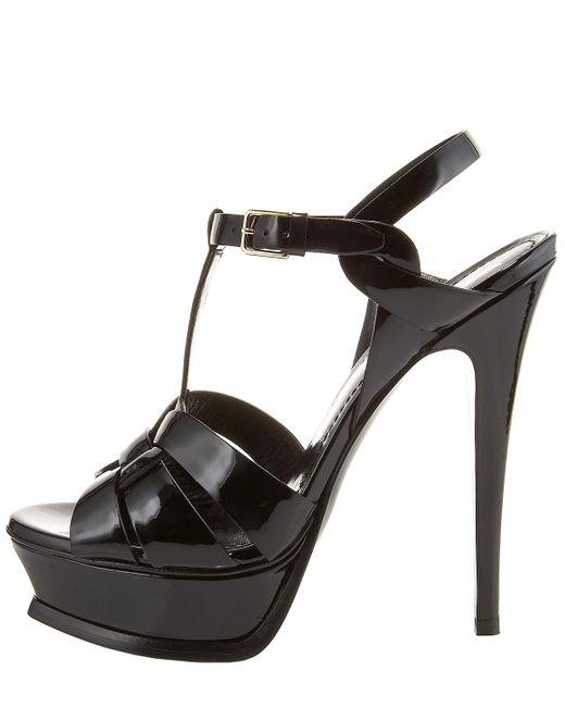 Saint Laurent | Black Patent Tribute Platform Sandals | Lyst
