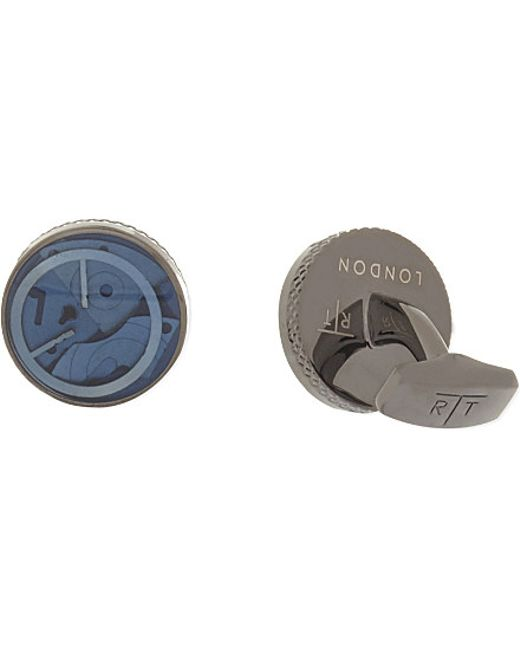 Tateossian | Blue Mechanical Gears Round Cufflinks for Men | Lyst