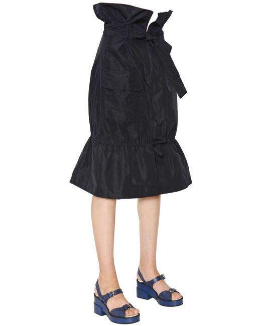 jil sander navy techno taffeta flared pencil skirt in blue