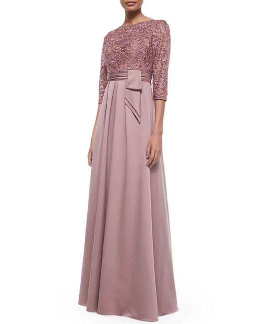 La Femme | Blue 3/4-sleeve Lace Bodice Full Skirt Gown | Lyst