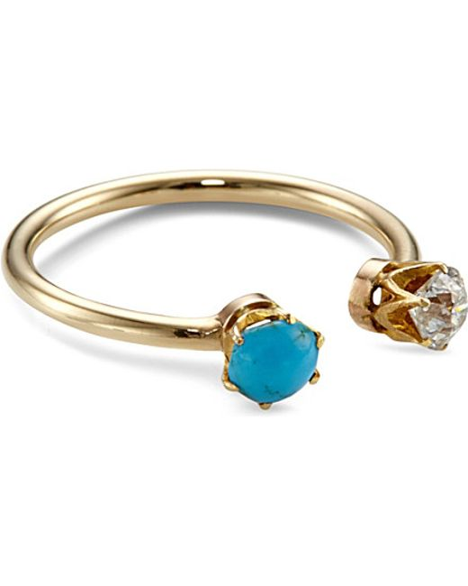 Annina Vogel | Blue 9ct Yellow-gold, Diamond And Turquoise Toi Et Moi Ring | Lyst
