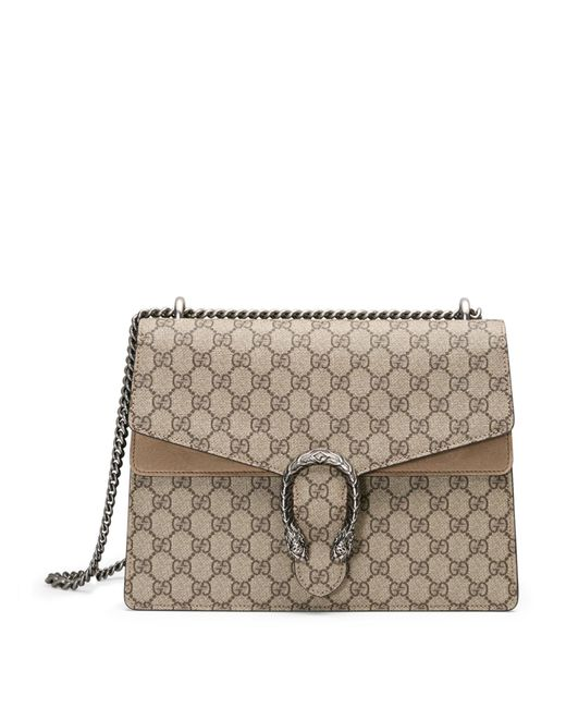 gucci dionysus gg supreme canvas shoulder bag in beige  beige ebony
