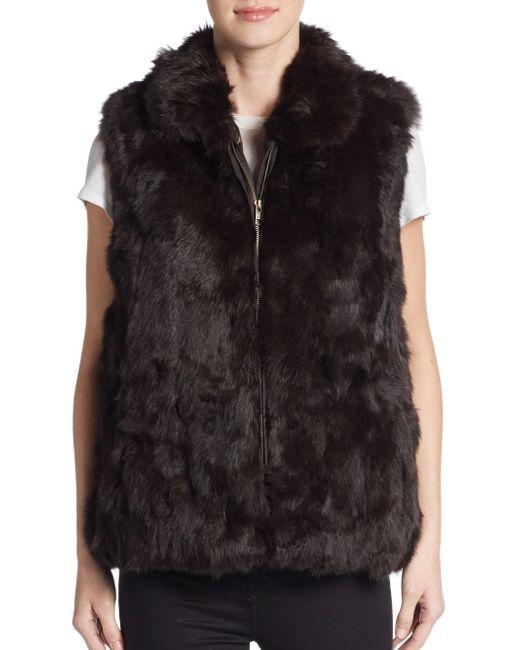 Saks Fifth Avenue   Brown Rabbit Fur Vest   Lyst