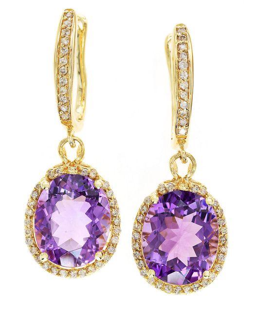 Effy | Purple 2.77 Tcw Espresso Diamond, White Diamond & 14k Rose Gold Petal Earrings | Lyst