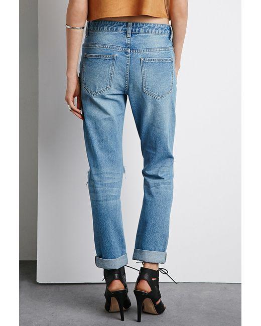 forever 21 destroyed boyfriend jeans in blue medium denim lyst. Black Bedroom Furniture Sets. Home Design Ideas