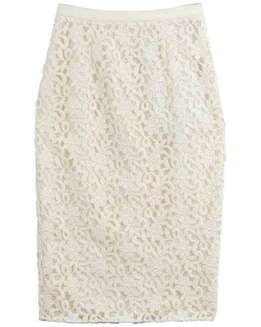 Burberry | Beige Lace Pencil Skirt - White | Lyst