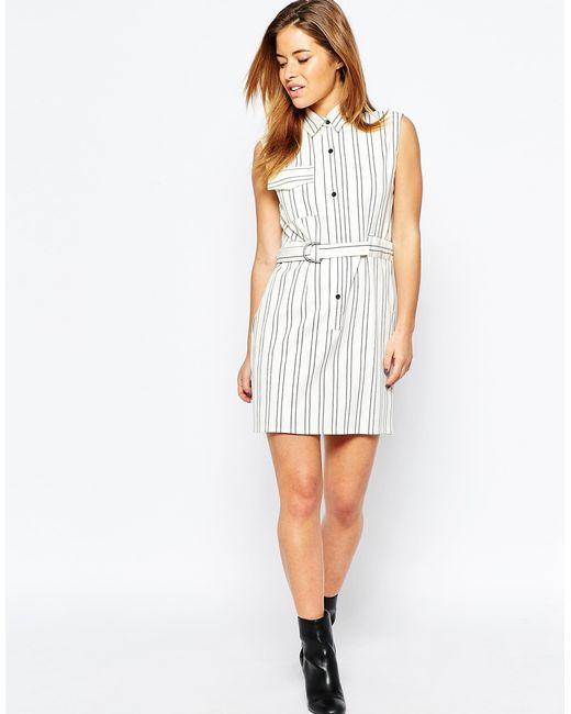 asos stripe shirt dress with d ring belt detail in white
