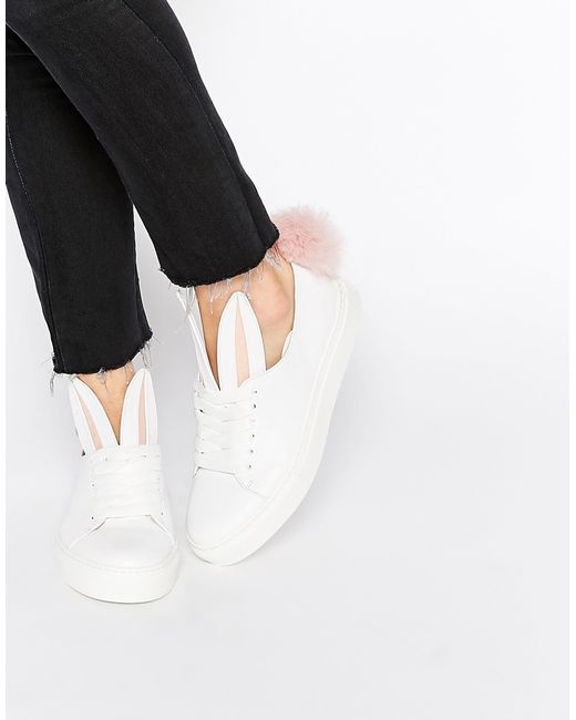 Minna Parikka   Pink White Leather Bunny Ears & Faux Fur Tail Sneakers - White   Lyst