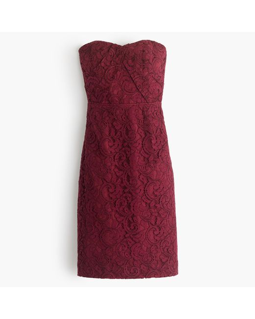 J.Crew | Red Petite Kelsey Strapless Dress In Leavers Lace | Lyst
