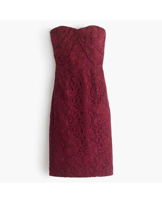 J.Crew | Purple Kelsey Strapless Dress In Leavers Lace | Lyst