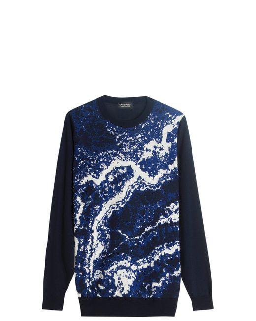 John Smedley | Blue Jacquard Merino Wool Sweater for Men | Lyst
