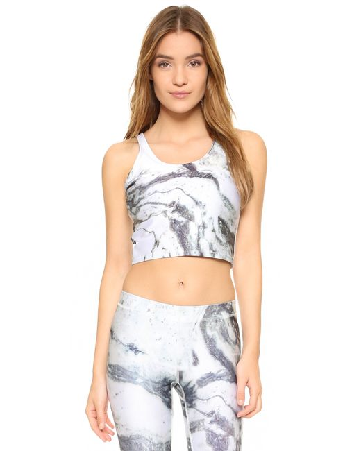 Terez Reversible Marble Crop Top With Shelf Bra In White
