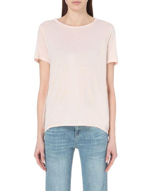 Clu silk trim cotton blend t shirt in pink light pink lyst for Cotton silk tee shirts