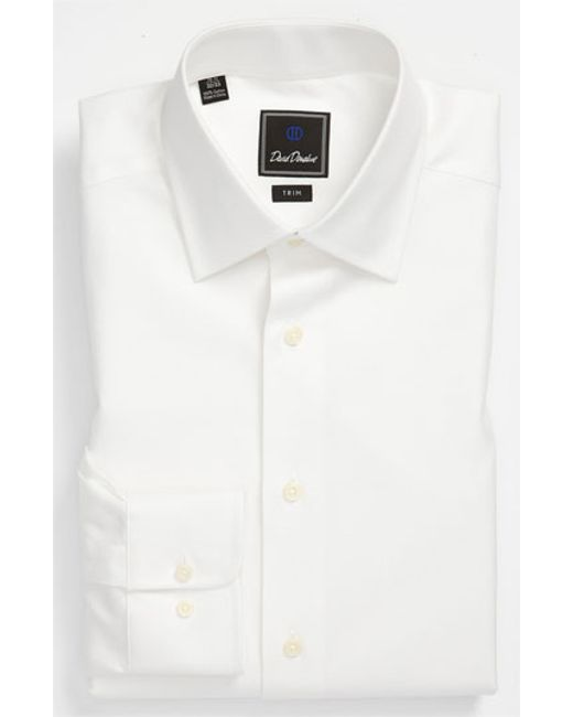 David Donahue | White Trim Fit Dress Shirt for Men | Lyst
