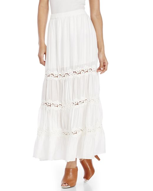 philosophy ivory crochet inset maxi skirt in white ivory