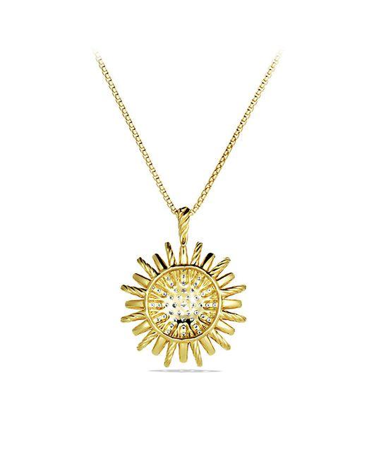 David Yurman   Yellow Starburst Large Pendant With Diamonds On Chain   Lyst