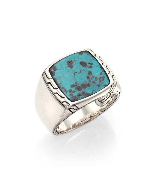 John Hardy | Metallic Batu Classic Chain Turquoise & Sterling Silver Signet Ring | Lyst
