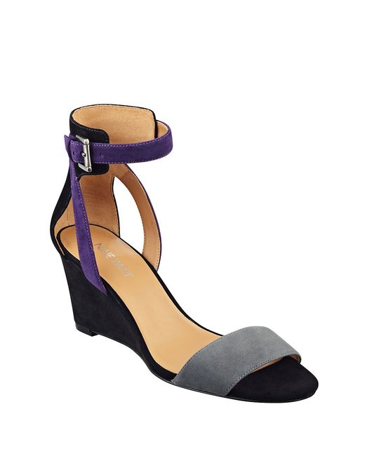 nine west nobody suede wedge sandals in gray grey lyst