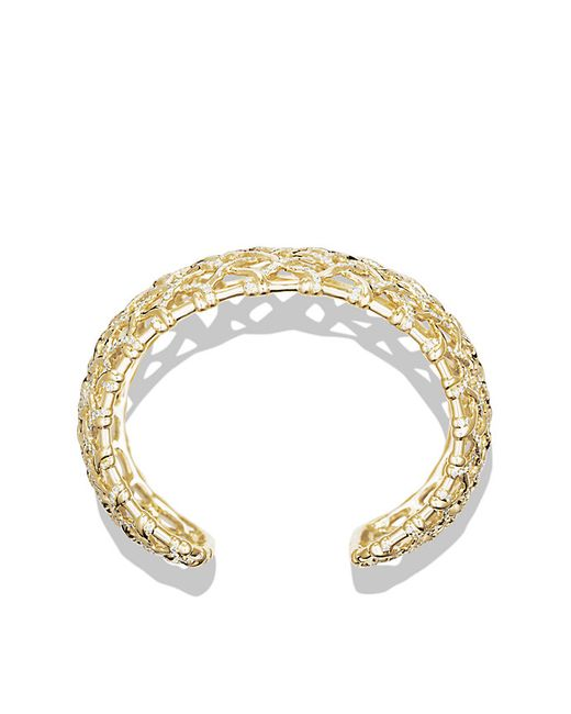 David Yurman | Metallic Venetian Quatrefoil Wide Cuff Bracelet With Diamonds In Gold | Lyst