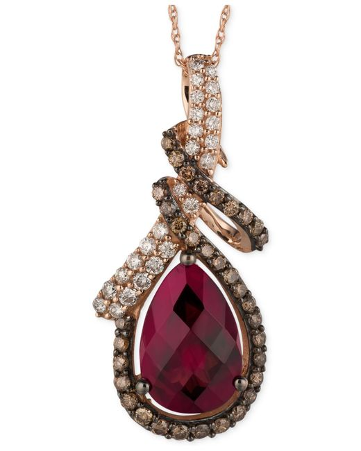 Le Vian | Pink Raspberry Rhodolite Garnet (3-5/8 Ct. T.w.) And Diamond (5/8 Ct. T.w.) Pendant Necklace In 14k Rose Gold | Lyst