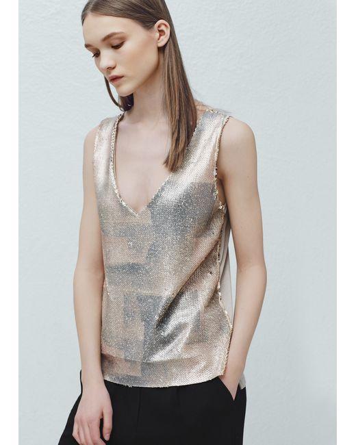mango reversible sequins t shirt in gold white save 60 lyst. Black Bedroom Furniture Sets. Home Design Ideas