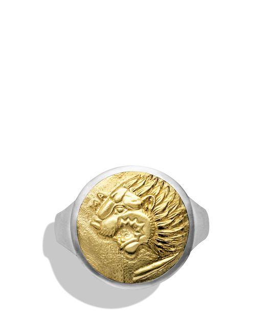 David Yurman | Metallic Petrvs Lion Signet Ring With 18k Gold for Men | Lyst