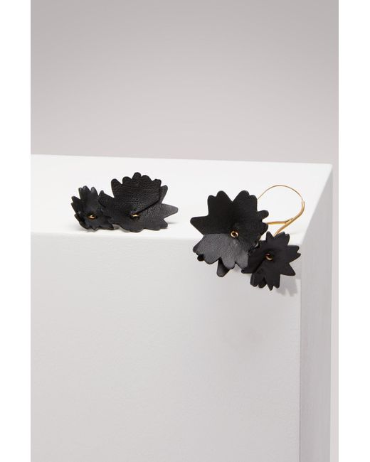 Marni - Black Leather And Brass Earrings - Lyst