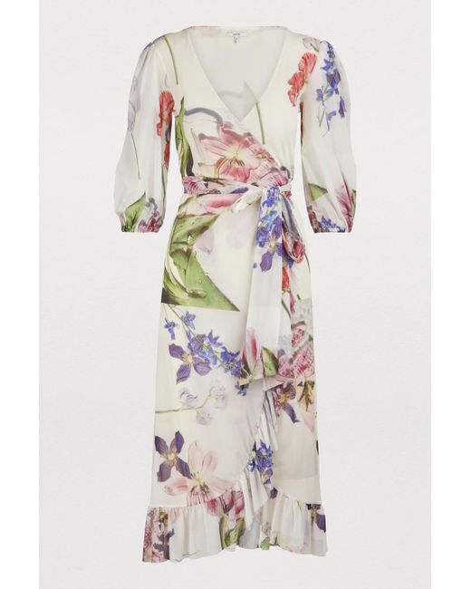 f6dc8c22cc Ganni - White Wrap Dress - Lyst ...