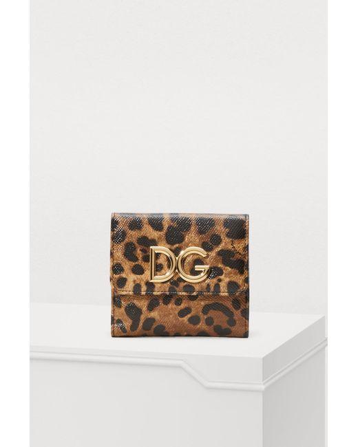 Dolce   Gabbana Leopard Mini Flap Wallet in Brown - Lyst 417a7ace5ca72