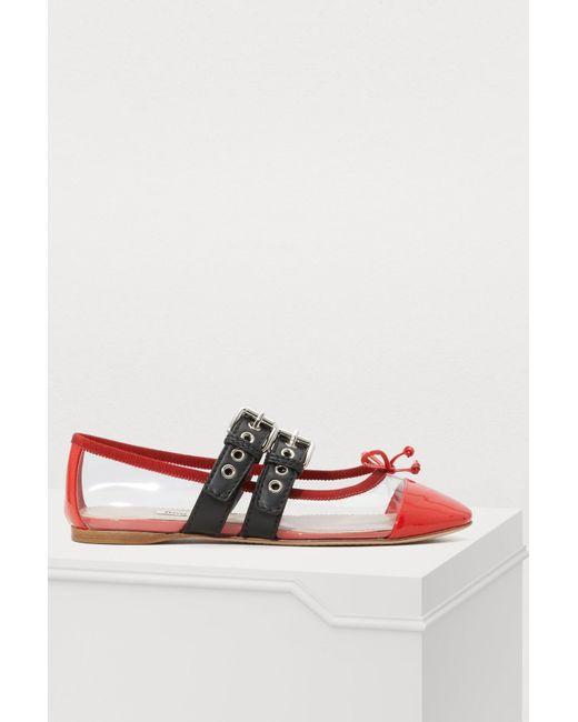 7a4a1c06cb4e1 Miu Miu Red And Black Buckle Pvc Ballerina Flats in Red - Lyst