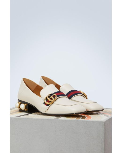 023fa9b65eb ... Gucci - White Leather Mid-heel Loafer - Lyst ...