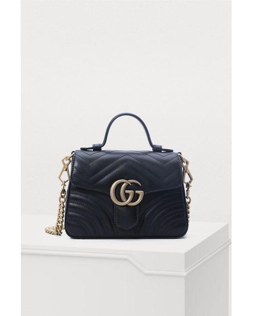 7d5fbc7a6 Gucci - Black GG Marmont Small Handbag - Lyst ...