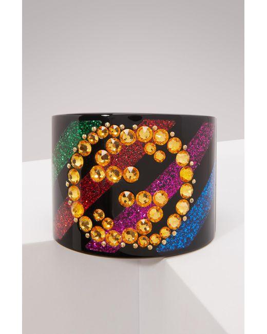 Gucci - Multicolor Crystal GG Cuff Bracelet - Lyst