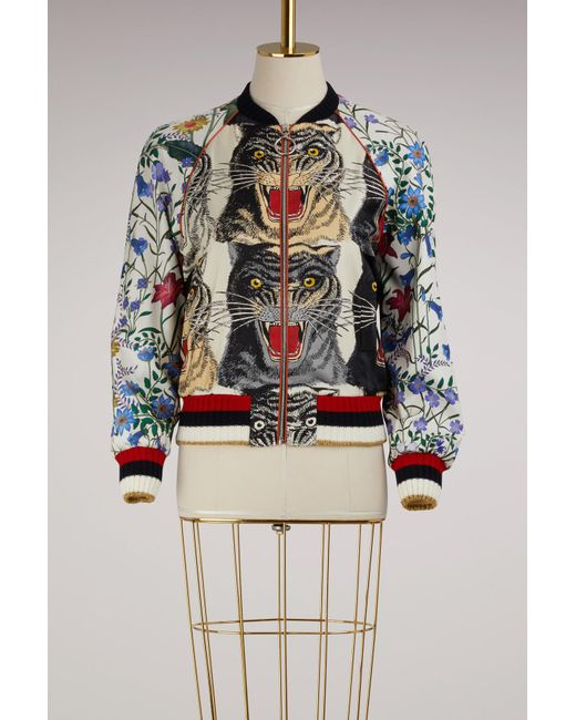 Gucci | Multicolor Patchwork Print Silk Bomber | Lyst